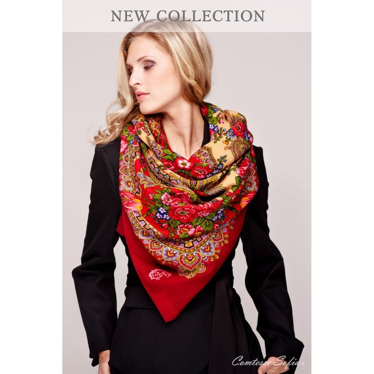 "Comtesse Sofia Floral Red Scarf (57"" x 57"") £ 174.00"