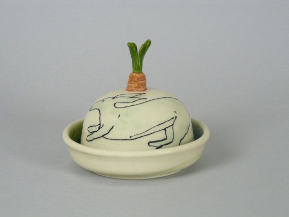 Butter Dish with Rabbit and Carrot Small butter by APrydePottery