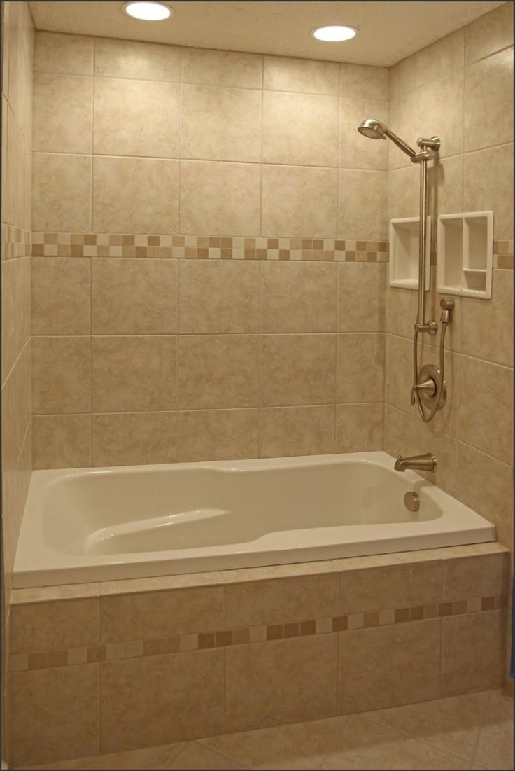 Bathroom tub and shower designs - Small Bathroom With Alcove Bathtub Shower Combo And Limestone Wall Use J K To