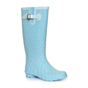 Wellygogs Womens Pull On Blue Wellington Boot with White Polka Dots and Side Buckle Strap Detail on a Low Heel