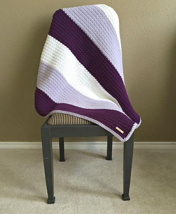 Purple Crochet Blanket Ombre Blanket Lap by HarvesonCrafts
