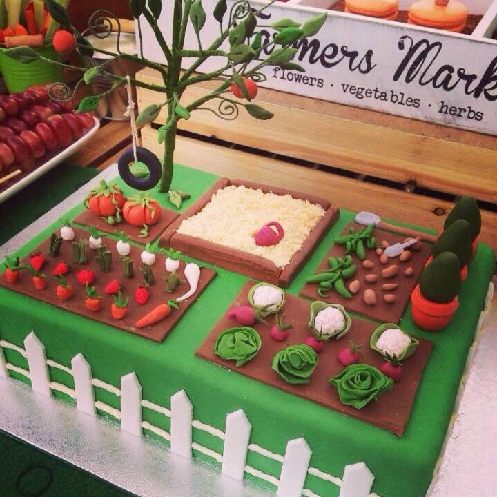 Backyard/garden/vegetable themed birthday cake