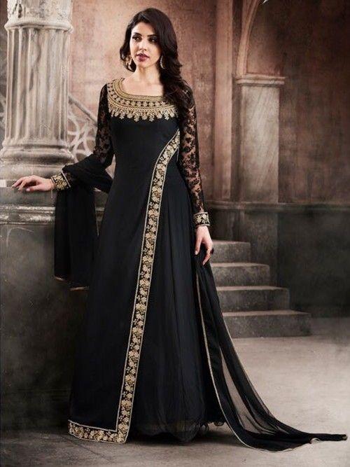 9306988c8 Black Georgette Anarkali Suit in 2019