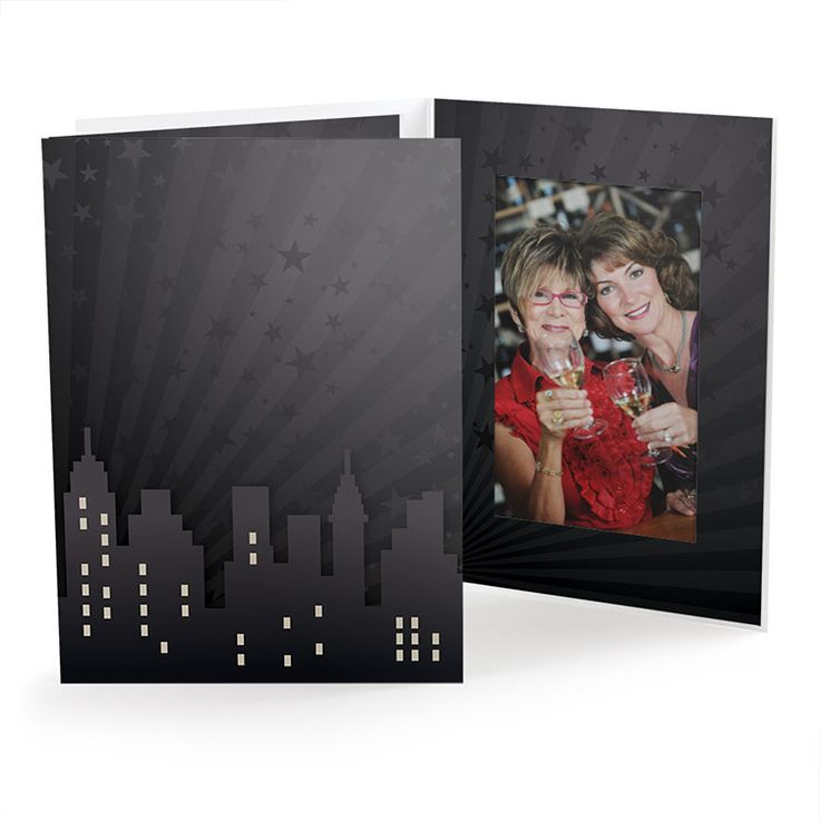 "City Skyline Vertical or Horizontal 4"" x 6"" or 5"" x 7"" Photo Folder. Great for high school proms, homecoming dances, cruises or special events, these city skyline photo folders are the perfect accompaniment to event photography with an urban or city theme. This design is black and gray with light rays, stars and a silhouette of a city skyline. Optional personalization allows you to add your school's name, prom theme and date. For other special events, add your logo and contact info."