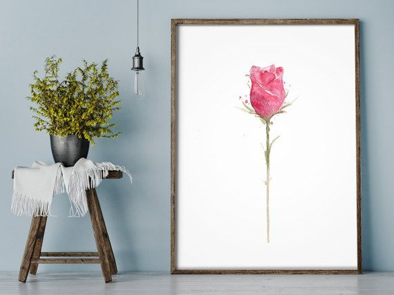 Red Rose Art Watercolor Print form my original by LadyWatercolor #pink #rose #flower #watercolor #print #art #illustration #drawing #home #decor #painting #picture #poster #wall #abstract #living #room #handmade #art #drawings #prints #decoration #artwork #plant #flower #floral #botanical #herb