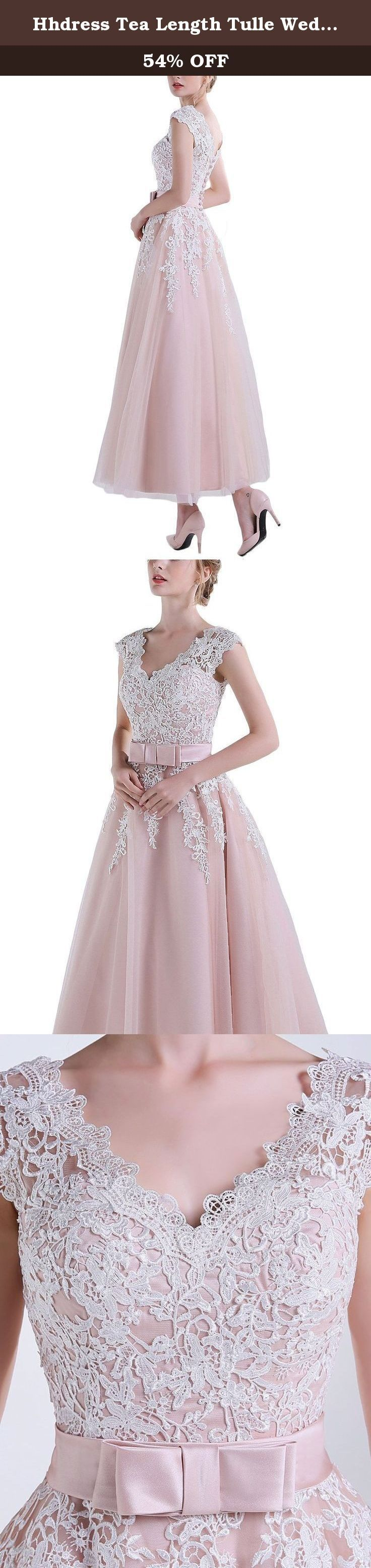 Hhdress Tea Length Tulle Wedding Dresses Womens Short Lace Prom Dress. Dresses for wedding,bride,formal party,gowns ball,special occasion.
