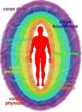 L'aura - 1) physique-éthérique, 2) émotionnelle (du désir, astral), 3 ) la  mentale (inférieure ou intellect), 4 ) la Causale (mental supérieur ou abstrait), 5) le Corps Bouddhique (Amour-Sagesse/Intuition, principe Christique), 6) Le Corps Divin(Atmique/Monade).