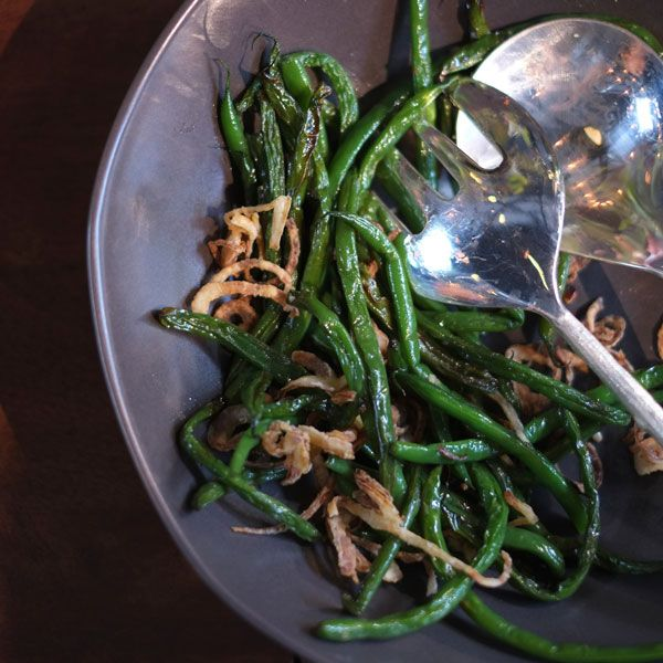 Haricots Verts with Crispy Shallots – Frédéric Rondeau
