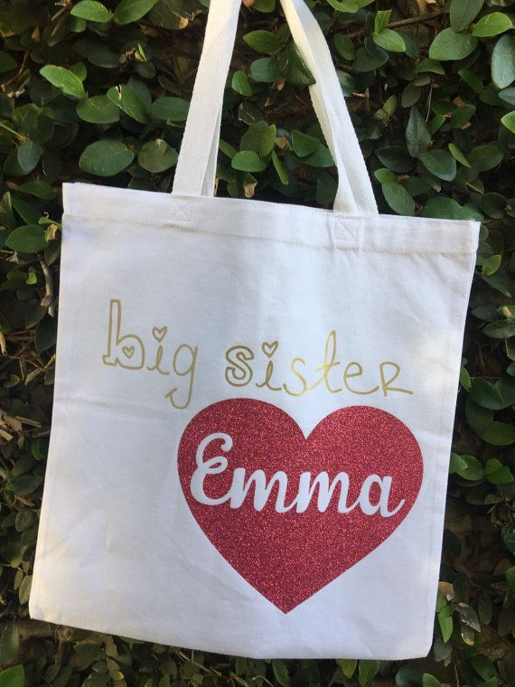 Personalized Big sister hospital tote bag by myprettylilparty