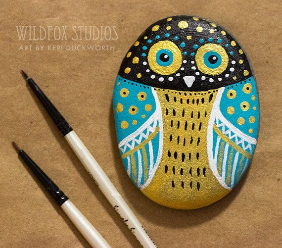 Hand Painted Owl Stone || Painted Owl Rock || Teal, Black, Gold