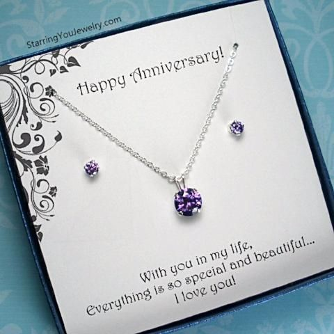 Anniversary Gift for Her - CZ Jewelry, Sterling Silver