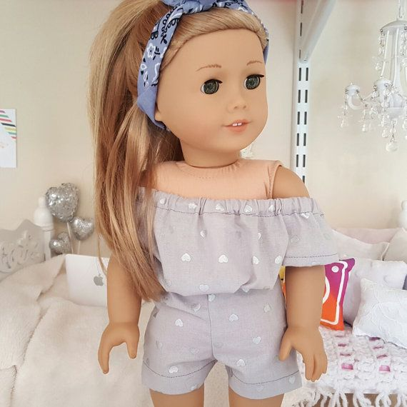 American girl doll heart print romper by SewCuteForever on Etsy