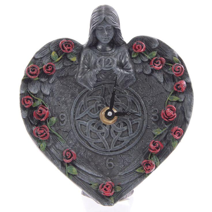 Orologio da tavolo scrivania in resina a forma di cuore con Angelo gotico e rose-Multicolore-PUDEA12_0.jpg (800×800)