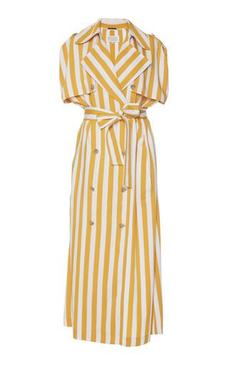 Medium maison margiela multi striped sleeveless trench dress