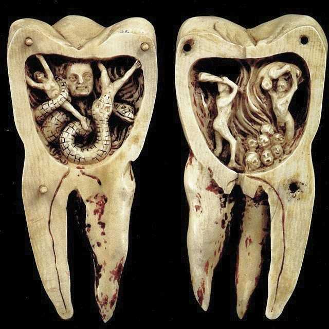 THE TOOTH WORM AS HELL'S DEMON 18th Century Ivory Carving from Southern France  The legend of the toothworm was believed to be the cause of the toothache, originating far back as 1800BC from Mesopotamia  #BetweenMirrors