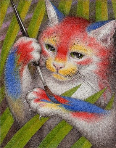 Nicola Bayley - I would be coloured so Bright: Catart Etcateraetcetera, Art Cats, Color, Cats Art, Illustration, Cats 10 Nicolas Bayley Jpeg, Bayley Parrots Cats, Chat, Animalarium Cats