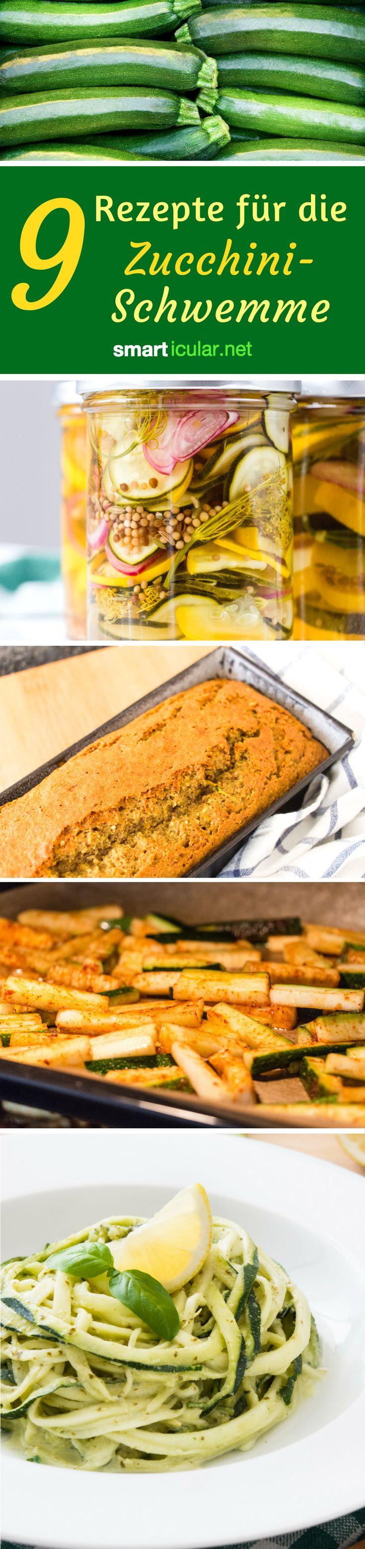 Wenn die Zucchini reif sind, muss innerhalb kurzer Zeit viel Gemüse verarbeitet werden. Diese Rezepte für Pommes, Salat, Spaghetti und Kuchen aus Zucchini bringen Abwechslung!