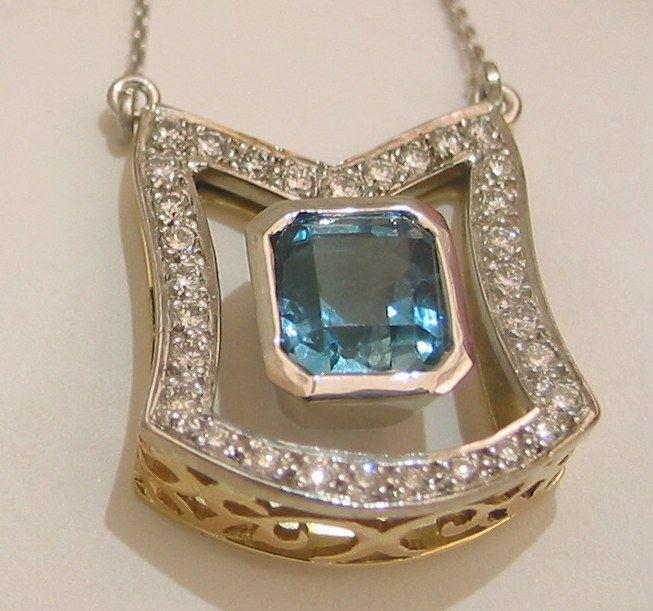 Aquamarine & Diamond Pendant by Dale Humphries
