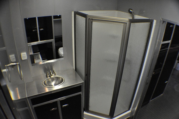 Need a bathroom in your race trailer rpm trailer sales can build it your way custom interior for Install bathroom in enclosed trailer