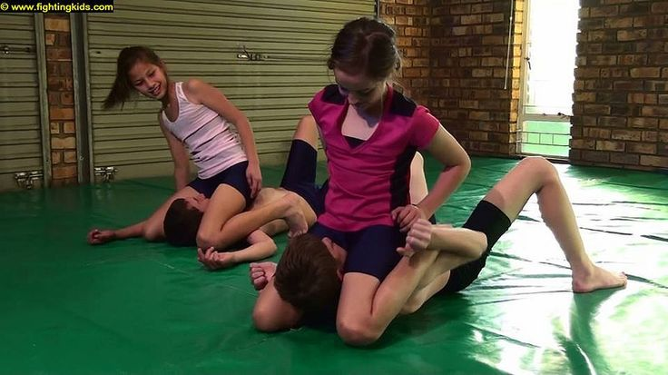 Mixed wrestling girl and boy