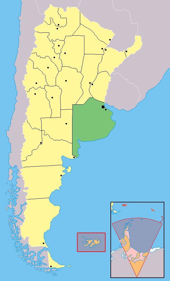 Karte von Argentinien und der Provinz Buenos Aires. Auf spanisch: Provincia de Buenos Aires (Argentina)