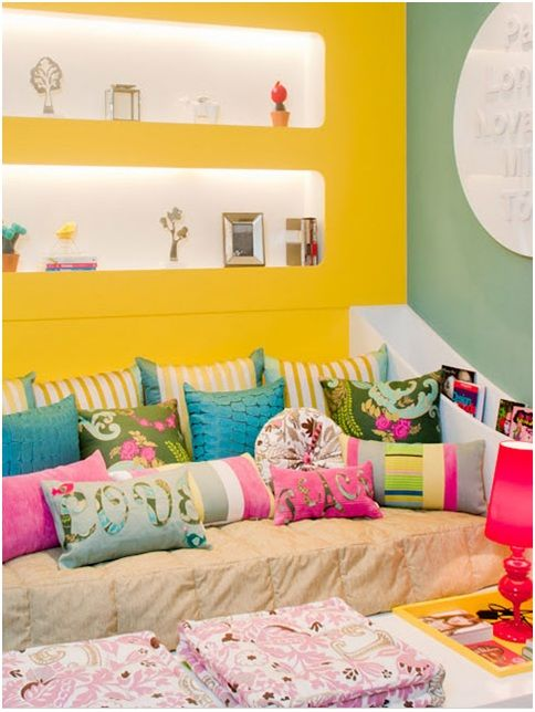 Colorful And Joyful Bedroom For Teenage Girl Yellow And Turquoise Dormitory Room Pinterest