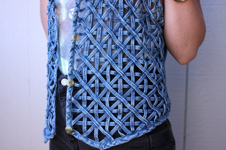 Vintage Woven Denim Vest. $ 50, by animal house via Etsy. -- Made in India, front is made of neatly woven strips of denim in a geometric motif & back is solid denim material w/ a tie in the back at the waist