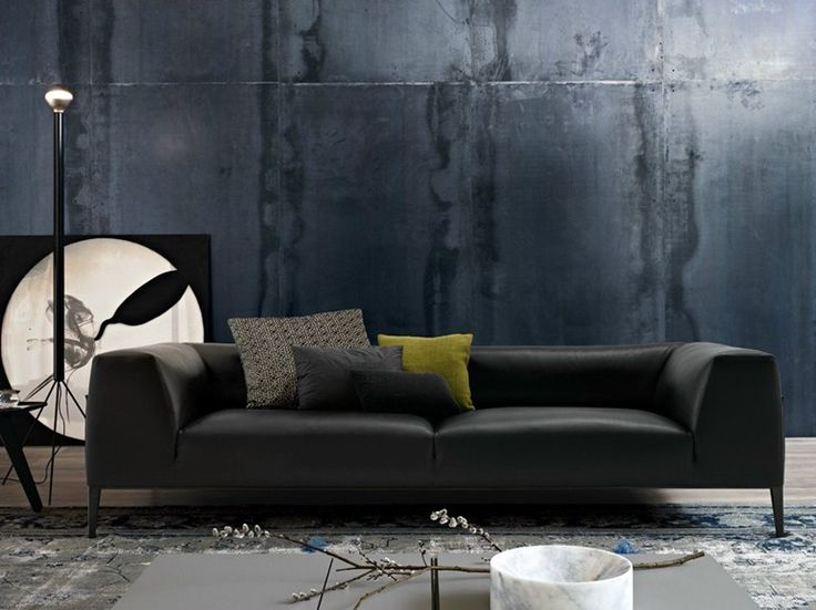 Upholstered sofa with removable cover METROPOLITAN | Imitation leather sofa - Poliform