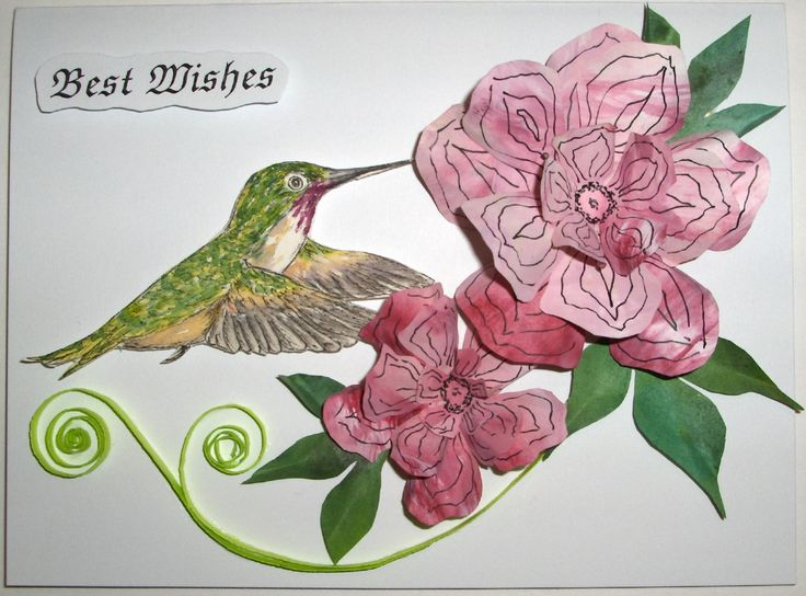 #16 - Hand-made card with my own painted papers for the flowers & quilling - Calliope with pink flowers - $10.00