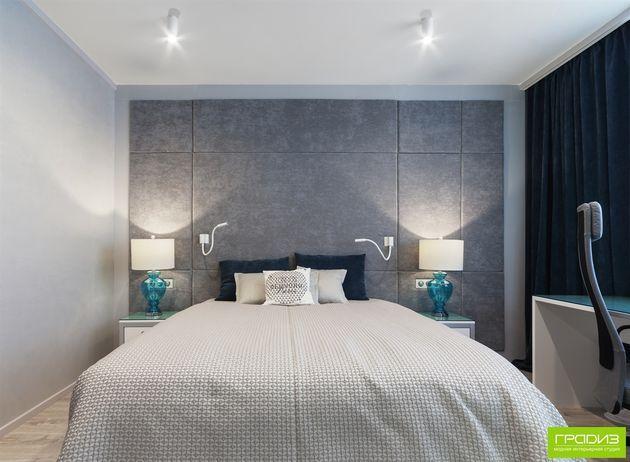 спальня, мягкие панели, серая спальня, голубая спальня, badroom