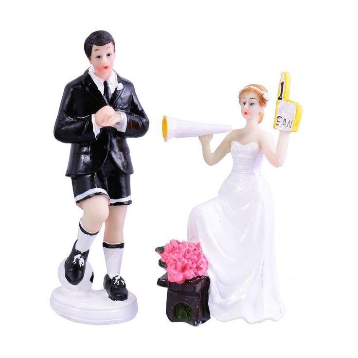 WINOMO Coppia di Sposa Sposo Figure Calcio Tema Matrimonio Torta Topper Decorazione: Amazon.it: Fai da te