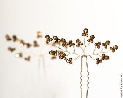 Золотая свадьба, Шпильки для волос, Аксессуары для свадьбы, Золотые в интернет-магазине на Ярмарке Мастеров. Золотая свадьба, Шпильки для волос, Аксессуары для свадьбы, Золотое плетение, Золотые кристаллы в прическу,Аксессуары для волос кристаллы, Аксессуары свадьба, Для невесты. *** Цена указана за две шпильки *** * Цвет: На первом фото цвет кристаллов - золотой металлик. Так же, Вы можете выбрать цвет кристаллов: прозрачный белый AB, золотой металлик, прозрачный розовый или черный. Цвет…