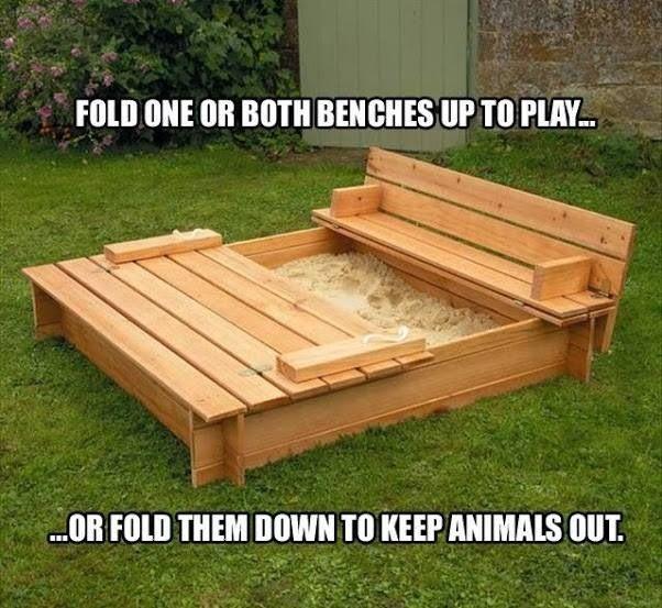 Diy Sandbox W Fold Up Lids That Convert To Benches Ideas
