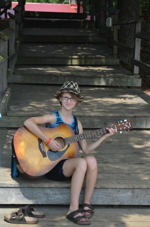 Playing Guitar at Camp Kitchikewana