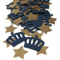 This royal prince confetti is great for a royal prince party, boys baby shower, or birthday celebration. Kings crowns in custom colors are paired with