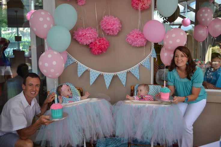 Twins' 1st Birthday Cupcake Party Pink & Aqua Birthday