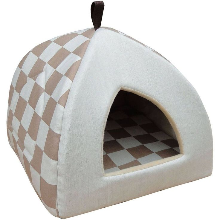 """Checkered Hooded Pet Bed Cat Small Dog House 16""""x16"""" Cushion Soft Kennel Home #CheckeredHoodedPetBed"""