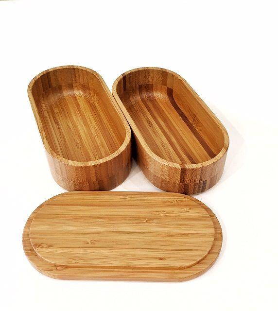 国産 竹製の楕円形の弁当箱  - MA by So Shi Te
