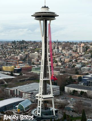 Real Angry birds play on Seattle Space Needle