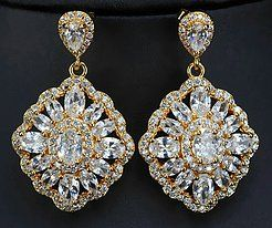 Gold and clear cz earrings