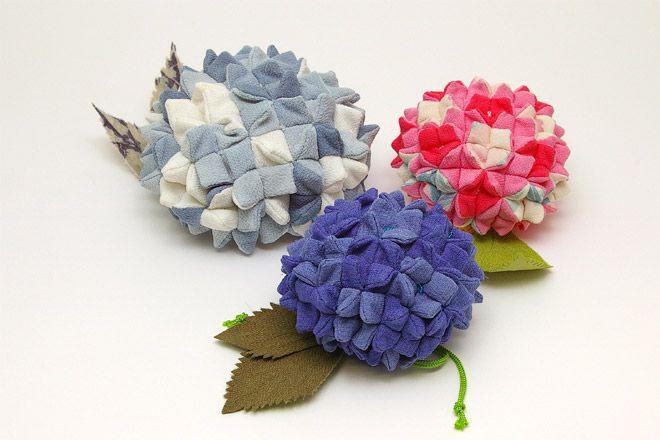 Hydrangea Bag Chirimen kimono fabric