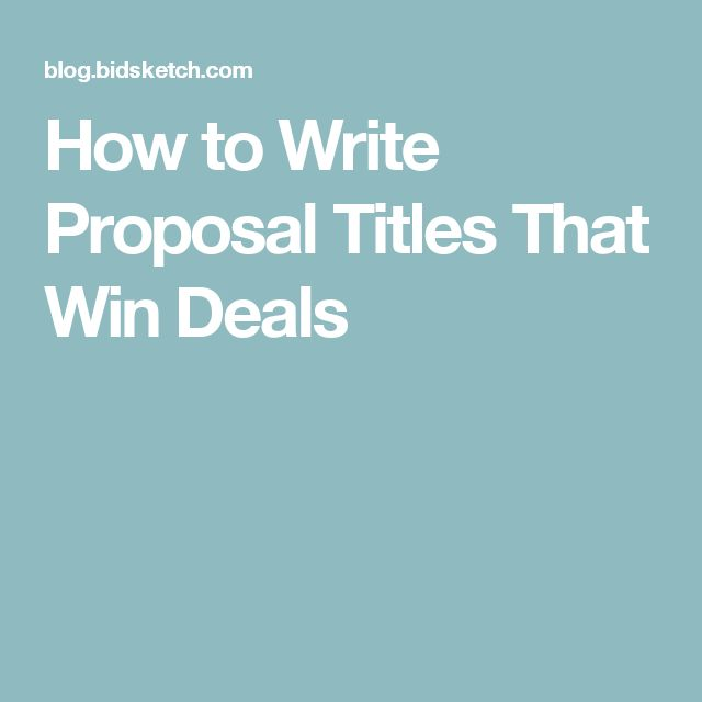 How to Write Proposal Titles That Win Deals