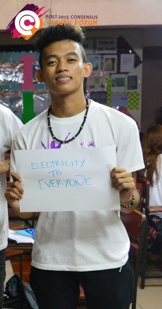 After participating in our youth forum in the Philippines, this young man ranked 'electricity to everyone' as his top priority for the post-2015 development agenda.