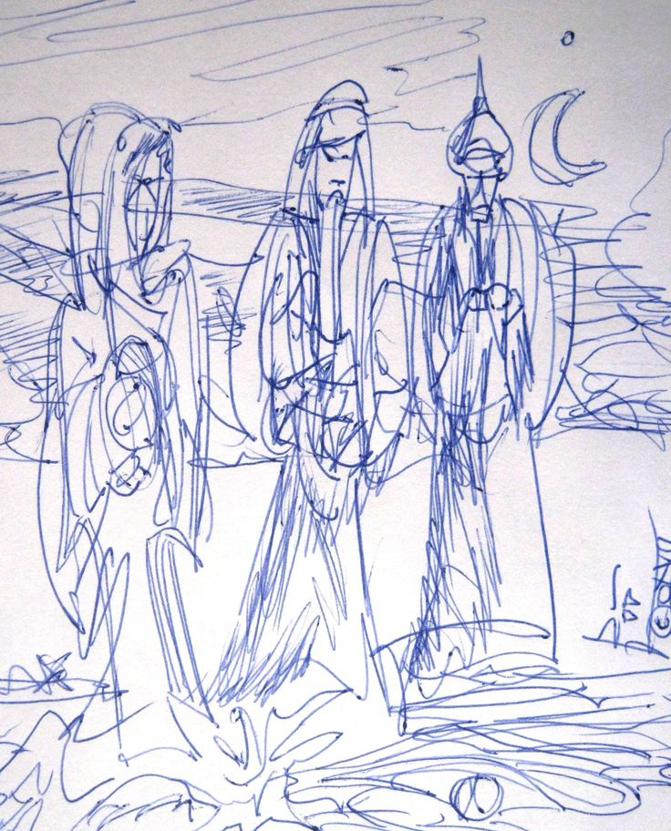 """The three wise men Pen and ink sketch Aprox 6"""" sq"""