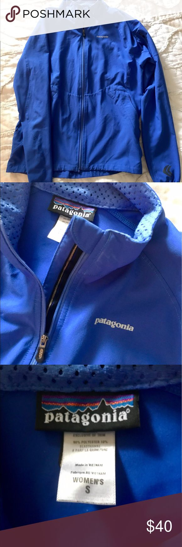 Patagonia Full Zip rain/ lightweight jacket This is a royal blue Patagonia jacket. It is 90% polyester and 10% elasthanne. It's perfect for chilly weather or the rain. It has a small detail pocket on the sleeve and deep pockets on the front of the jacket. This jacket is very breathable and can be worn year round! Patagonia Jackets & Coats Utility Jackets