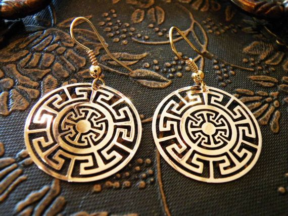 Awesome plate earrings inspired by the traditional art of the ancient Aztec civilization. Made of high quality jewelry brass. by Culture Cross