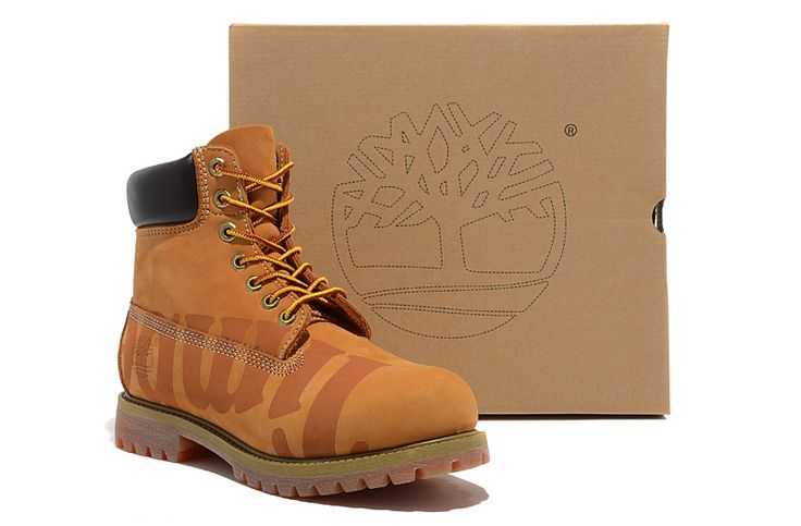 Timberland 6 Inch Large Logo Print Boots Wheat Black For Men,classic yellow timberland boots,all black timberland boots,new timberland boots 2017