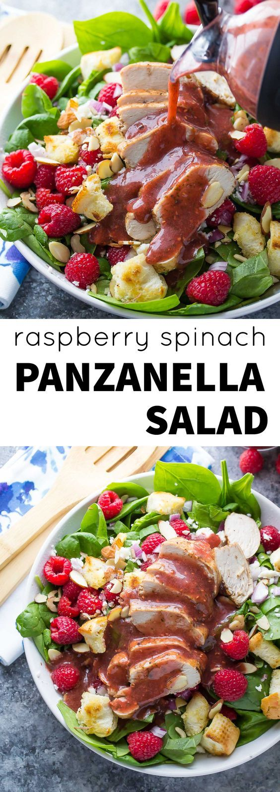 Raspberry Spinach Panzanella Salad with Chicken and a Raspberry Basil Vinaigrette