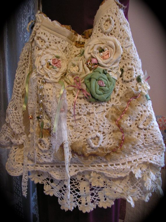 Romantic Crocheted Bag with lace and  crocheted doilies handmade by Dede