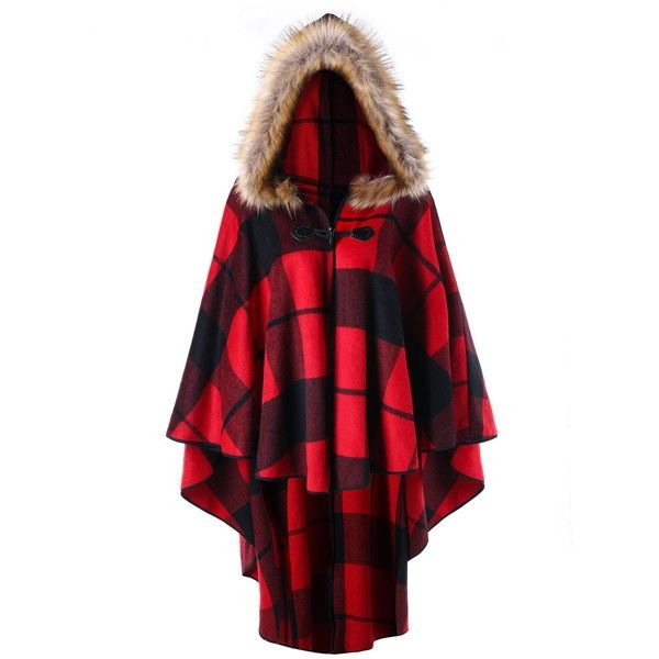 Red Plaid 5xl Plus Size Plaid High Low Hooded Cloak ($21) ❤ liked on Polyvore featuring costumes, plus size womens costumes, plus size halloween costumes, womens plus costumes, women's plus size halloween costumes and plus size costumes